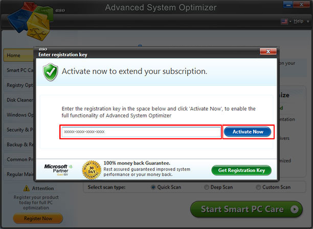 Advanced System Optimizer Screen Shot
